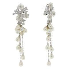 Fine Silver Rhodium Palladium Plating Mother of Pearl flower Stud Earrings