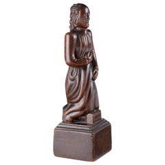 Fine Sino Hispanic Portuguese Chinese Colonial Wooden Sculpture of a Jesuit