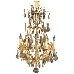 Fine Six-Light Cut Crystal and Brass Chandelier Newly Wired