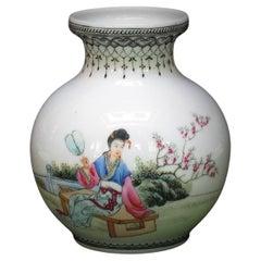 Fine Small Chinese Famille Rose Eggshell Bulbous Vase