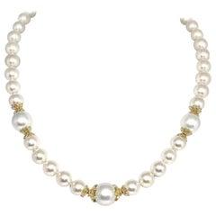 Fine South Sea Akoya Pearl 14 Karat Necklace Certified