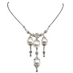 Fine South Sea Pearl and Diamond 18 Karat Necklace Certified