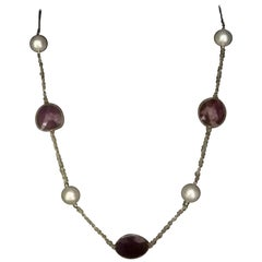 Fine South Sea Pearl and Ruby 14 Karat Necklace Certified