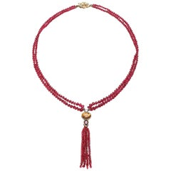 Fine Spinel Beads with Diamond, Citrine, and Garnet Bail in 18 Karat Gold