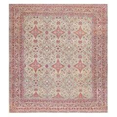 Fine Square Antique Persian Kerman Lavar Rug. Size: 11' x 12' (3.35 m x 3.66 m)