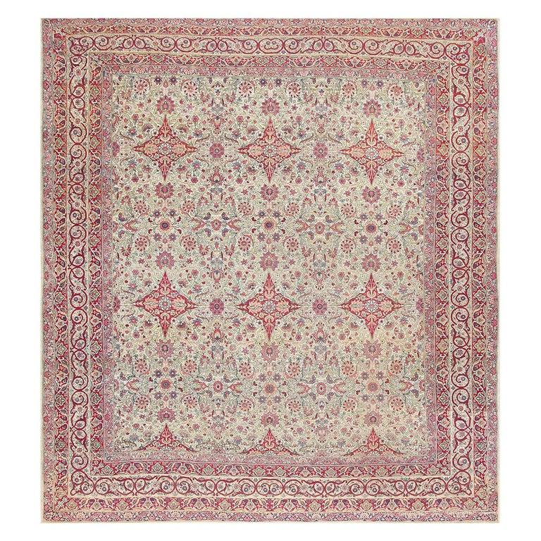 Fine Square Antique Persian Kerman Lavar Rug. Size: 11' x 12' (3.35 m x 3.66 m) For Sale