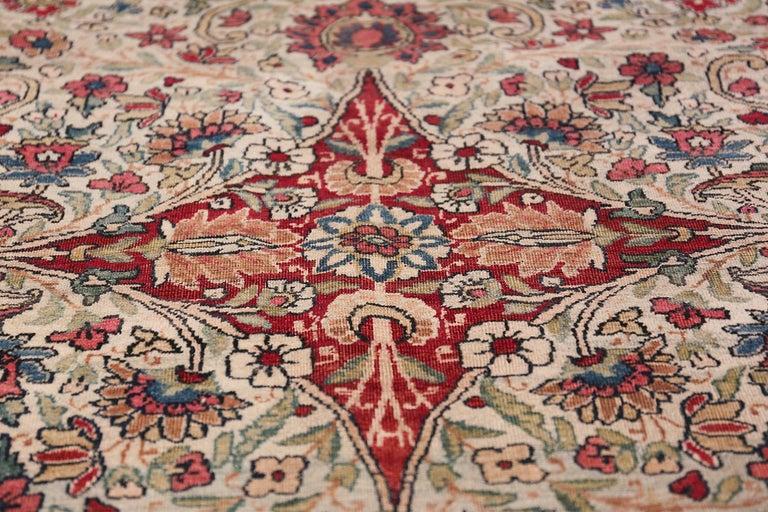 Fine Square Antique Persian Kerman Lavar Rug. Size: 11' x 12' (3.35 m x 3.66 m) For Sale 4