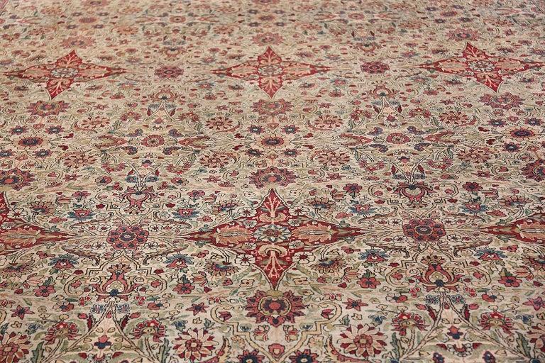 Kirman Fine Square Antique Persian Kerman Lavar Rug. Size: 11' x 12' (3.35 m x 3.66 m) For Sale