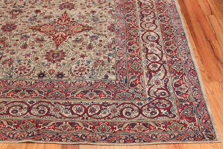 Hand-Knotted Fine Square Antique Persian Kerman Lavar Rug. Size: 11' x 12' (3.35 m x 3.66 m) For Sale