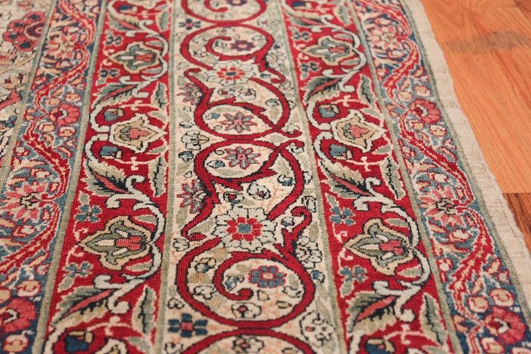 19th Century Fine Square Antique Persian Kerman Lavar Rug. Size: 11' x 12' (3.35 m x 3.66 m) For Sale