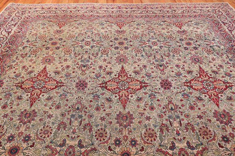 Wool Fine Square Antique Persian Kerman Lavar Rug. Size: 11' x 12' (3.35 m x 3.66 m) For Sale