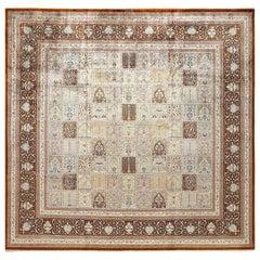 Fine Square Garden Design Silk Qum Persian Rug