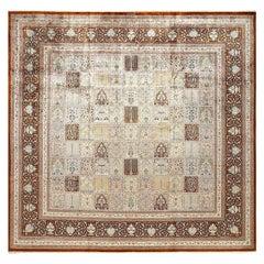Fine Square Garden Design Silk Qum Persian Rug. Size: 9 ft 7 in x 9 ft 9 in