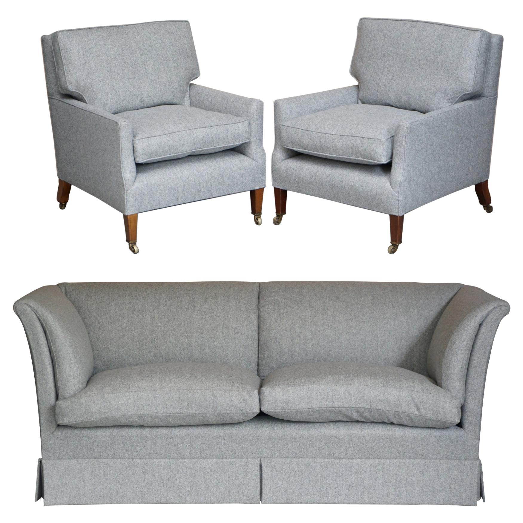 Fine Suite of Restored Howard & Son's Berners Street Sofa and Pair of Armchairs