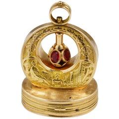 Fine Swiss Musical Fob circa 1810 Solid 18 Karat Gold Large Sized