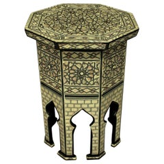 Fine Syrian Bone and Mother of Pearl Side Table