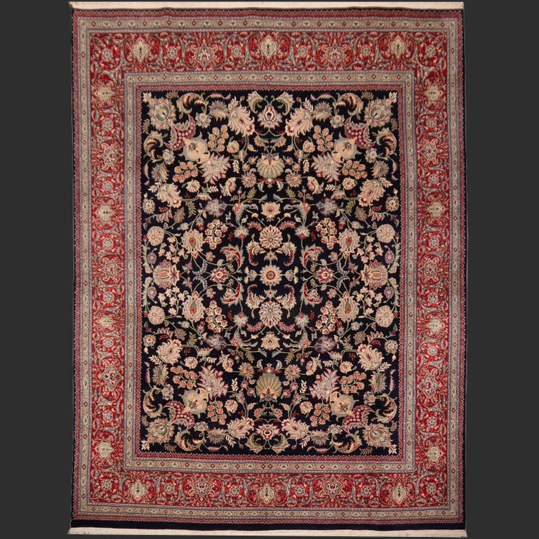 8 x10 ft Fine Tabriz Style Area Rug Hand Knotted Wool Pile Blue and Red For Sale 5