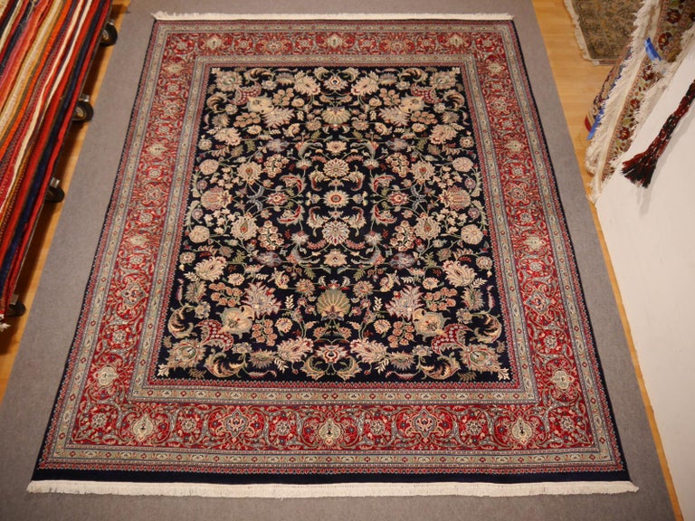 8 x10 ft Fine Tabriz Style Area Rug Hand Knotted Wool Pile Blue and Red For Sale 6