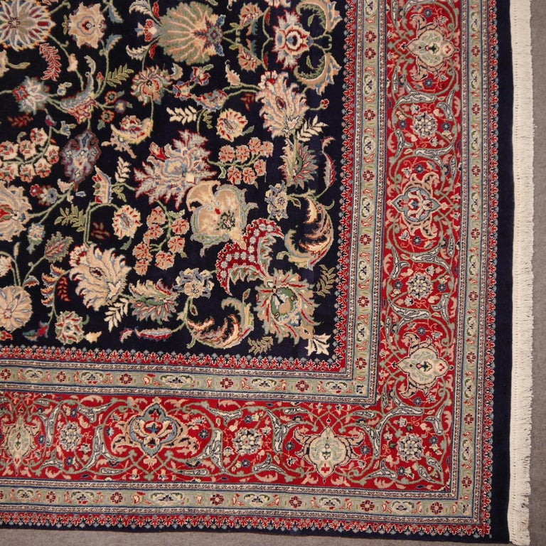 Indian 8 x10 ft Fine Tabriz Style Area Rug Hand Knotted Wool Pile Blue and Red For Sale