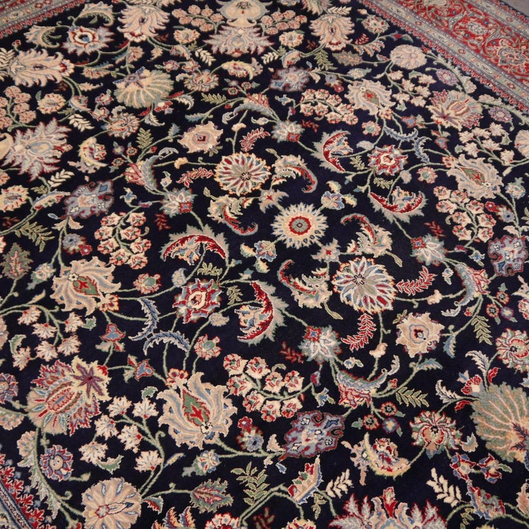 Hand-Knotted 8 x10 ft Fine Tabriz Style Area Rug Hand Knotted Wool Pile Blue and Red For Sale