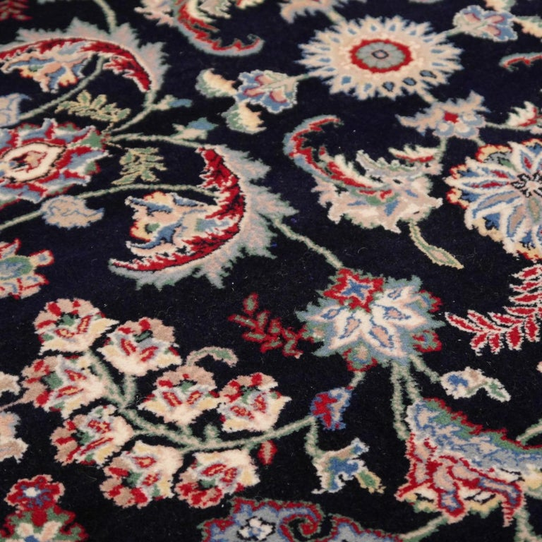 8 x10 ft Fine Tabriz Style Area Rug Hand Knotted Wool Pile Blue and Red For Sale 1