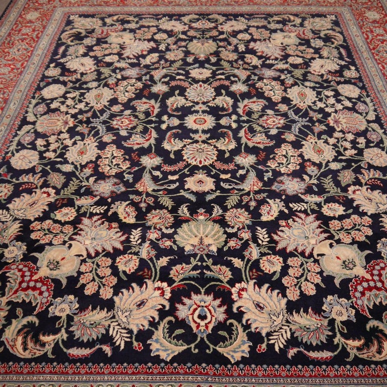 8 x10 ft Fine Tabriz Style Area Rug Hand Knotted Wool Pile Blue and Red For Sale 3