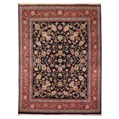 8 x10 ft Fine Tabriz Style Area Rug Hand Knotted Wool Pile Blue and Red
