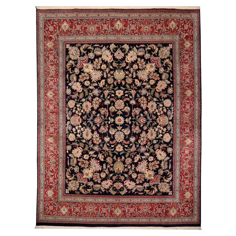 8 x10 ft Fine Tabriz Style Area Rug Hand Knotted Wool Pile Blue and Red For Sale