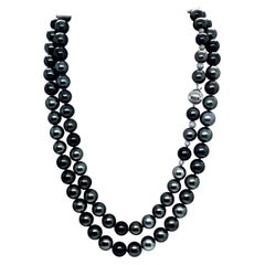 "Large Tahitian Pearl Necklace 14k Gold 11.4 mm 42"" Certified"