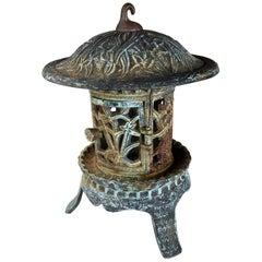 """Fine Tall Round Garden Lantern """"Iris, Flowers & Vines"""""""