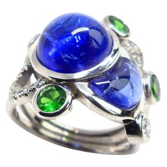 Fine Tanzanite Tsavorite Diamond 18 Karat White Gold Ring