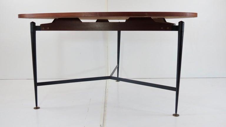 Italian Fine Three Feet Silvio Cavatorta Large Teak Triangular Round Dining Table, 1950 For Sale
