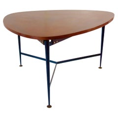 Fine Three Feet Silvio Cavatorta Large Teak Triangular Round Dining Table, 1950