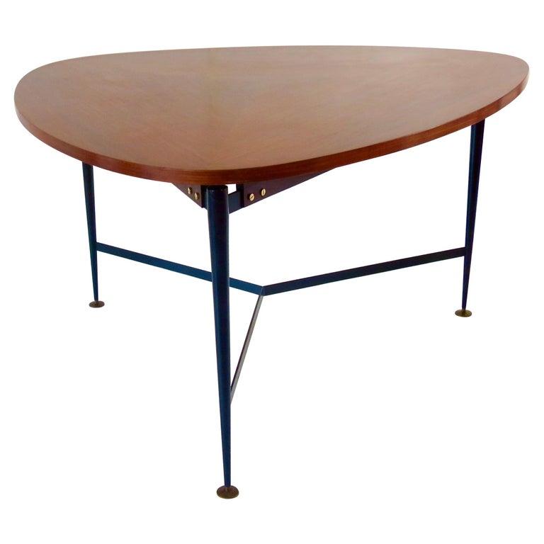 Fine Three Feet Silvio Cavatorta Large Teak Triangular Round Dining Table, 1950 For Sale