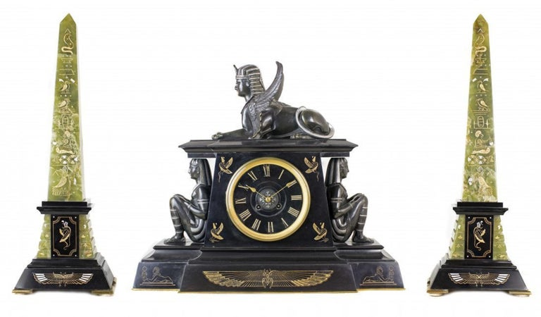 Fine Three-Piece Clock Garniture, France For Sale 2