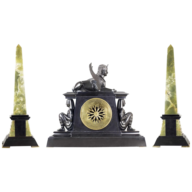 Fine Three-Piece Clock Garniture, France