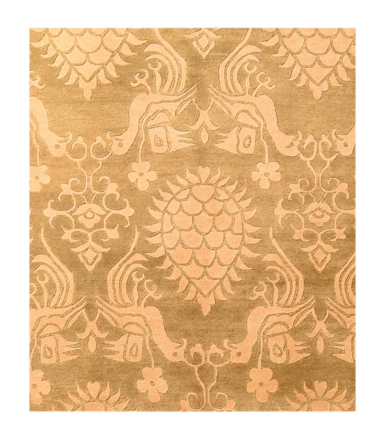 Fine Tibetan rug, hand knotted, wool and silk  Design: All-over  Tibetan rug making is an ancient, traditional craft. Tibetan rugs are traditionally made from Tibetan highland sheep's wool, called changpel. Tibetans use rugs for many purposes