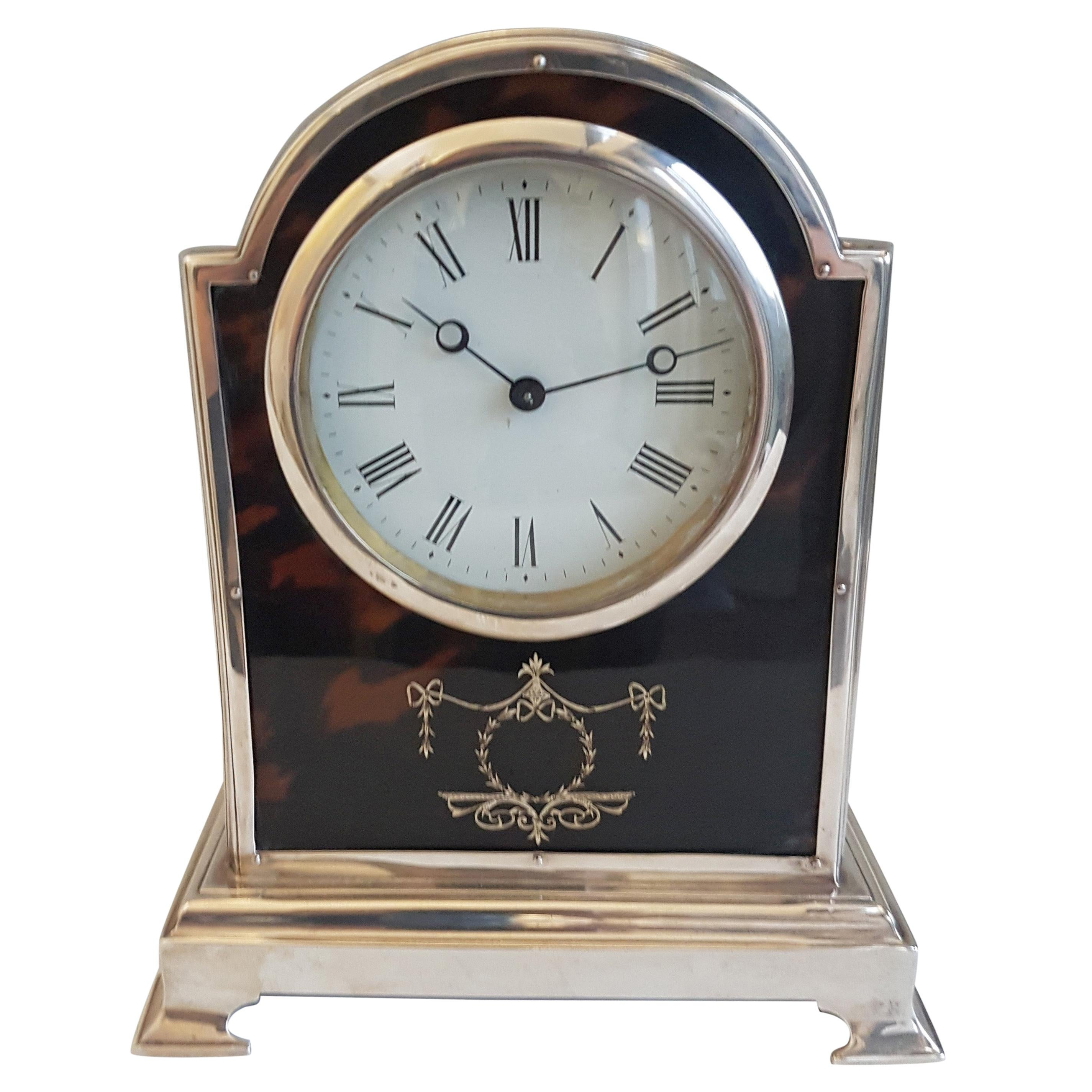 Fine Tortoiseshell and Silver Pique Domed Topped Mantel Clock by Henry Matthews