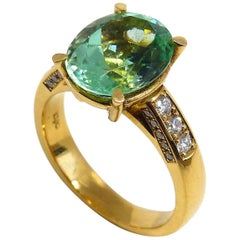 Leyser 18 Karat Rose Gold Green Tourmaline & Diamonds Ring