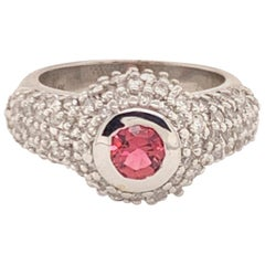 Fine Tourmaline and Diamond 1.29 Carat 14 Karat White Gold Ring Certified