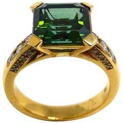 Fine Tourmaline + Diamonds 18K Rose Gold Ring