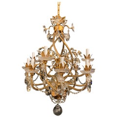 Fine Transitional Baguès Jansen 12-Light Gilt Crystal Flower Spiral Chandelier