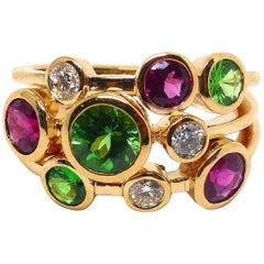 Leyser 18k Rose Gold Tsavorite, Rubelite & Diamond Ring