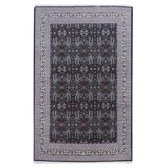 Fine Turkish Hereke Rug Large Room Size Black Creme Blue Floral All-Over Design