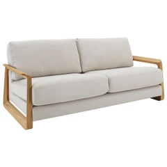 Fine Two-Seat Sofa in Oatmeal Fabric and Teak Arms