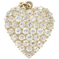 Fine Victorian 3.50 Carat Diamond 14 Karat Gold Heart Pendant Brooch