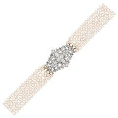 Fine Victorian Diamond Scroll Brooch