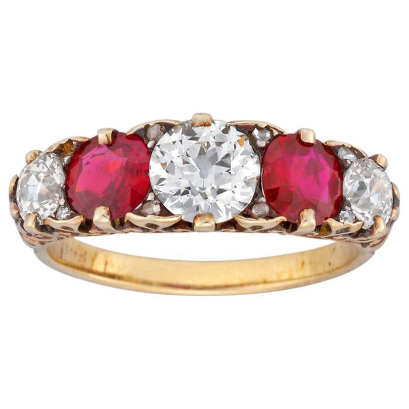 Fine Victorian Five-Stone Ruby and Diamond Ring