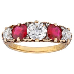 Fine Victorian Five-Stone Ruby and Diamond Ring