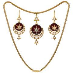 Fine Victorian Garnet, Pearl and Diamond Semi Parure